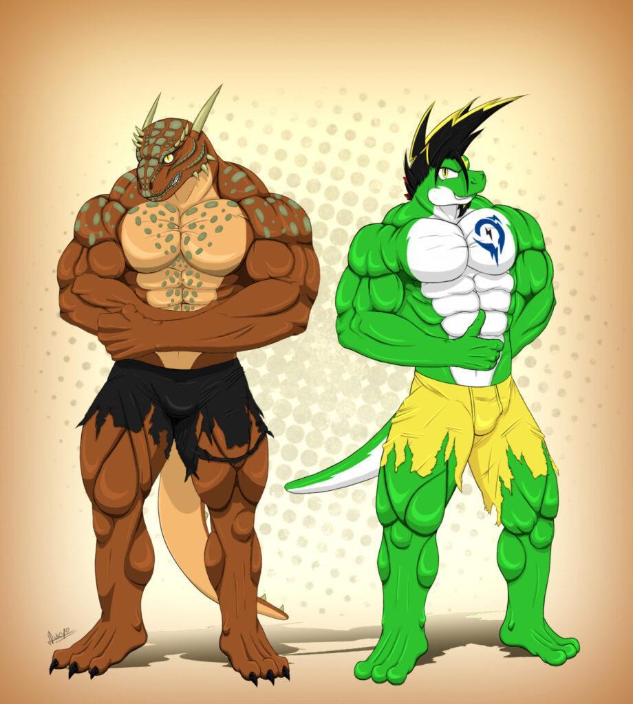 Two big buff guys